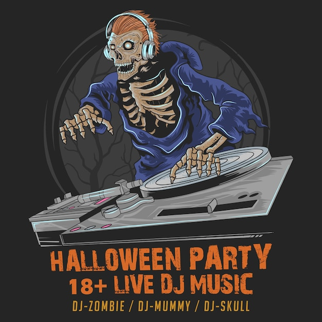 Skull zombie dj music halloween party in dark night Premium Wektorów
