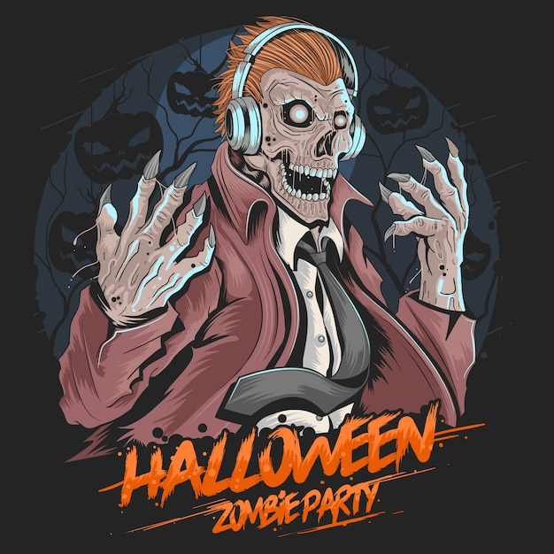 Skull zombie dj music party halloween element wektora Premium Wektorów