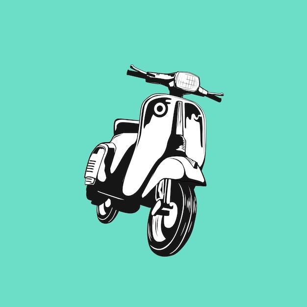Skuter klasyczny retro niestandardowy klub motocykl sylwetka Premium Wektorów