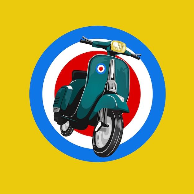 Skuter Klasyczny Retro Niestandardowy Klub Motocykl Premium Wektorów
