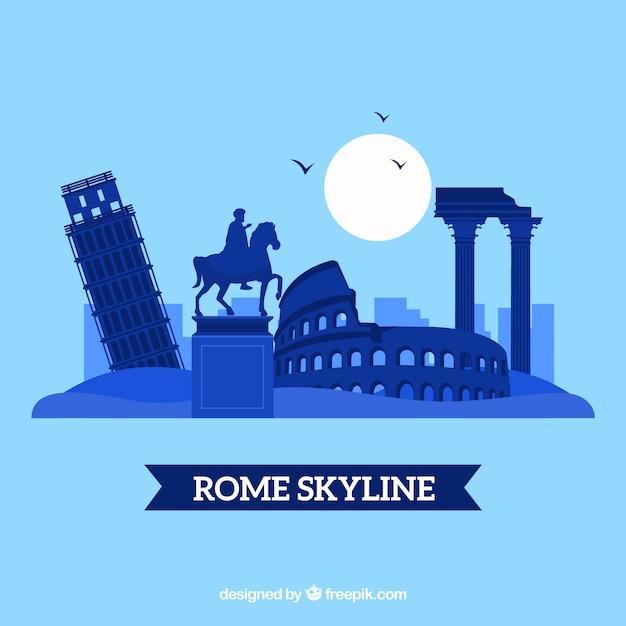 Skyline Sylwetka Miasta Rzymu Darmowych Wektorów