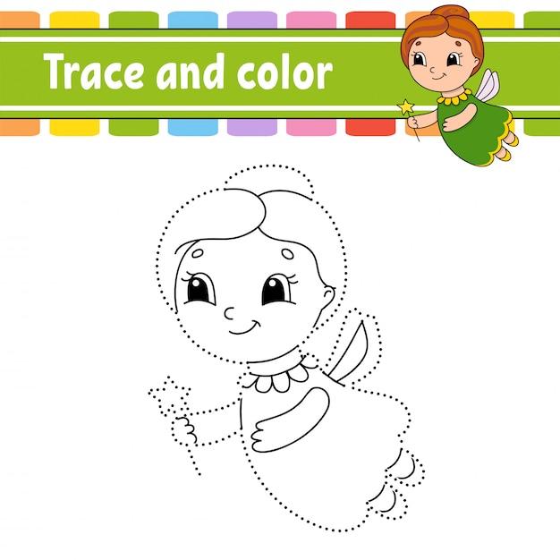 Ślad i kolor. kolorowanki dla dzieci. Premium Wektorów
