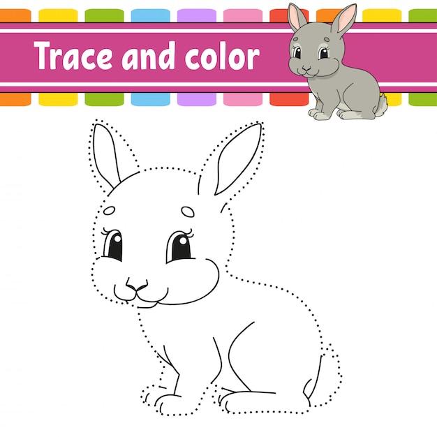 Ślad I Kolor. Królik Królik Zwierząt Kolorowanki Dla Dzieci. Praktyka Pisma Ręcznego. Premium Wektorów