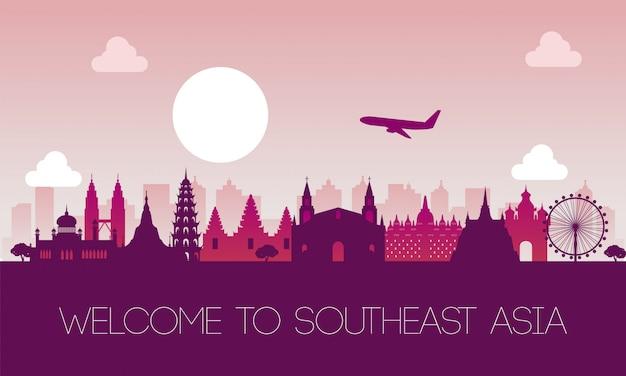 Sławny Punkt Orientacyjny Południowo-wschodniej Azji Premium Wektorów