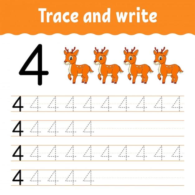 Śledź i pisz. praktyka pisma ręcznego. nauka liczb dla dzieci. arkusz rozwijający edukację. Premium Wektorów