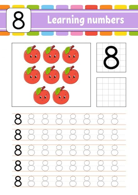 Śledź i pisz. praktyka pisma ręcznego. nauka liczb dla dzieci. Premium Wektorów