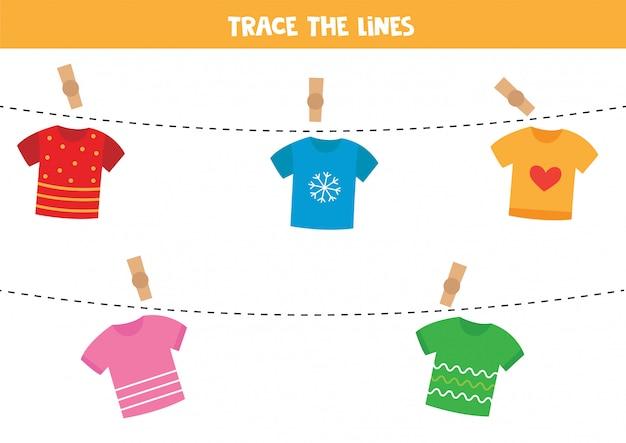 Śledź Linę Za Pomocą Koszulek. Premium Wektorów