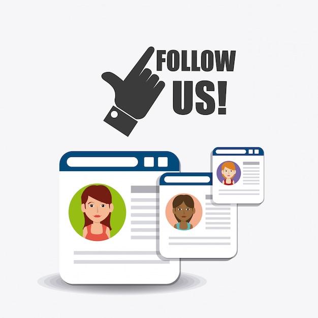 Śledź nas społecznie i biznesowo Darmowych Wektorów