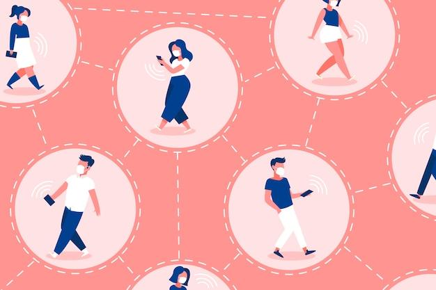 Śledzenie Kontaktów Koronawirusa - Koncepcja Darmowych Wektorów