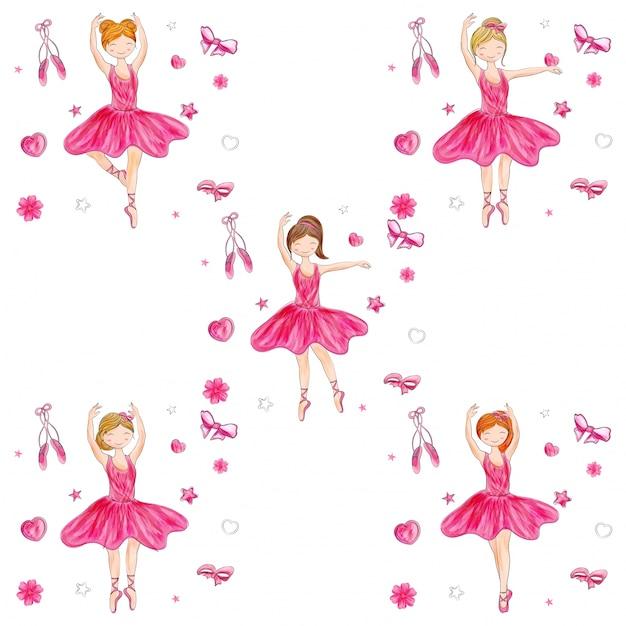Śliczna Baleriny Dziewczyna W Różnej Fryzurze Na Doodle Elementów Tle. Premium Wektorów