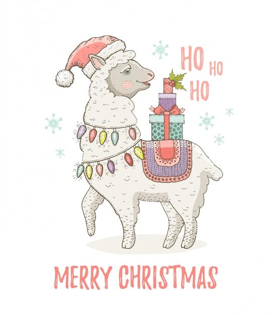 Śliczna bożonarodzeniowa lama alpagowa w santa hat. do nadruku z życzeniami lub nadrukiem na koszulce. Premium Wektorów