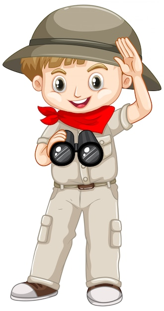 Śliczna Chłopiec W Safari Stroju Na Bielu Darmowych Wektorów
