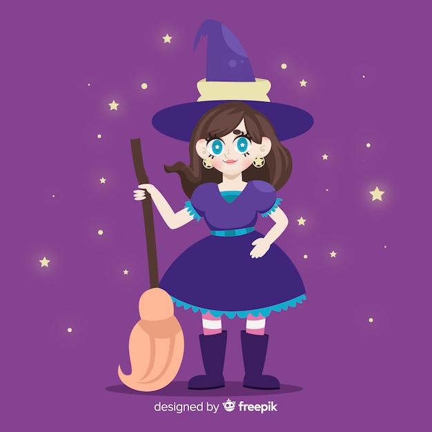 Śliczna czarownica halloween z gwiaździstej nocy tłem Darmowych Wektorów