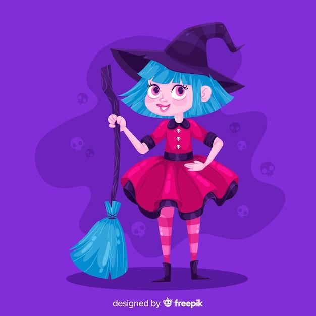 Śliczna Czarownica Halloween Z Miotłą Darmowych Wektorów