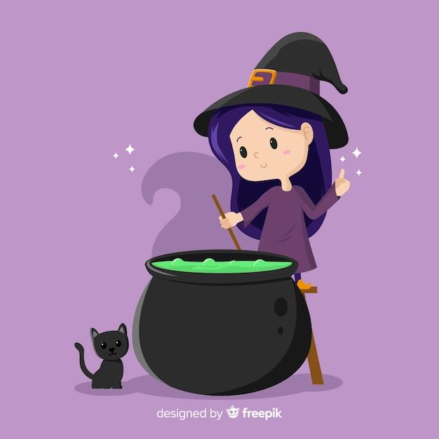 Śliczna czarownica halloween z tyglem i kotem Darmowych Wektorów