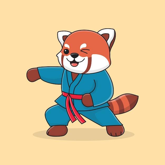 Śliczna Czerwona Panda Wojskowa Z Pięścią Premium Wektorów