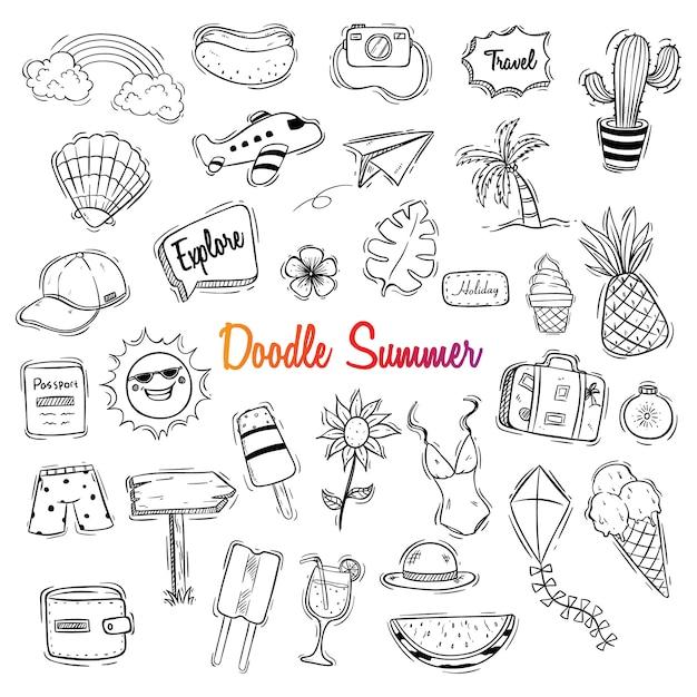 Śliczna cześć lata ilustracja z doodle stylem Premium Wektorów