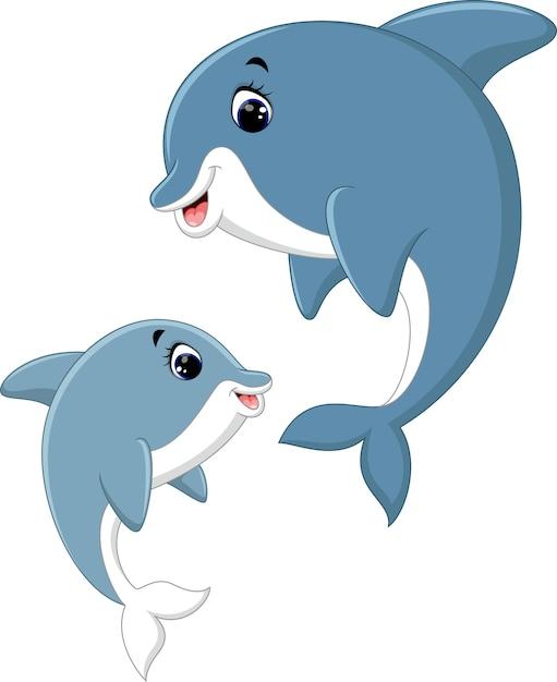 Śliczna Delfin Pary Kreskówka Premium Wektorów