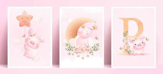 Śliczna Doodle świnka Z Kolekcji Kwiatowy Premium Wektorów