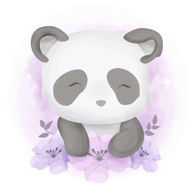 Śliczna dziecięca panda z kwiatami Premium Wektorów
