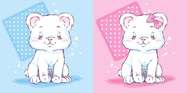 Śliczna dziecko kreskówki niedźwiedzia pepiniery dekoracja Premium Wektorów