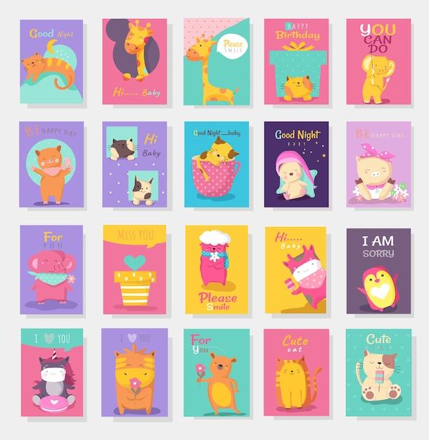 Śliczna Dziecko Zwierzęcia Karty Kreskówki Ręka Rysujący Styl Premium Wektorów