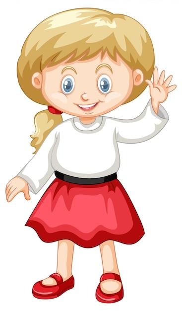 Śliczna Dziewczyna Jest Ubranym Białą Koszula I Czerwoną Spódnicę Darmowych Wektorów