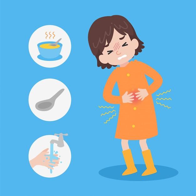 Śliczna dziewczyna jest ubranym pomarańczowego płaszcz przeciwdeszczowy ma ból brzucha w deszczu Premium Wektorów