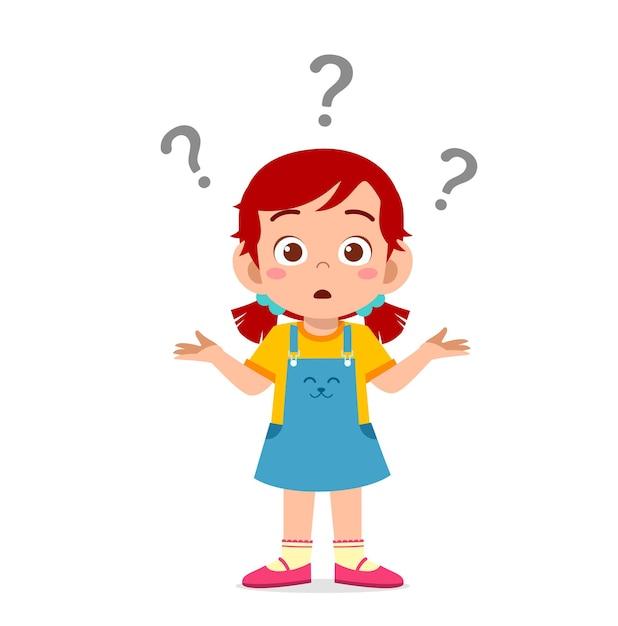 Śliczna Dziewczyna Pokazuje Zdezorientowany Wyraz Ze Znakiem Zapytania Premium Wektorów