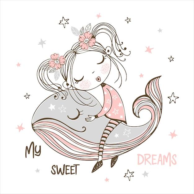 Śliczna dziewczyna słodko śpi na magicznym wielorybie. słodki sen. Premium Wektorów