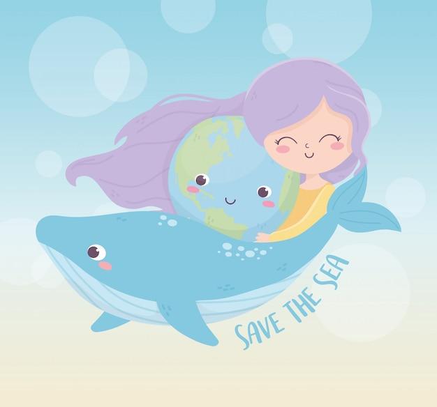 Śliczna Dziewczyna środowiska Wieloryba Morze środowiska Ekologia Premium Wektorów