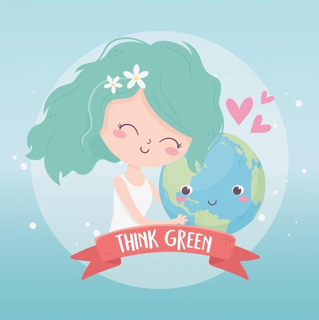 Śliczna Dziewczyna Trzyma światową Miłości środowiska Ekologię Premium Wektorów
