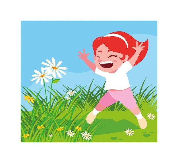 Śliczna dziewczyna uśmiecha się outdoors i bawić się Premium Wektorów