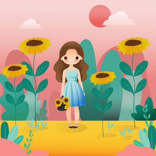Śliczna dziewczyna z słonecznikowym postać z kreskówki Premium Wektorów