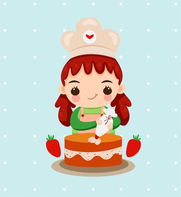 Śliczna Dziewczyna Z Szefa Kuchni Pieczenia Kapeluszowym Tortem Z Truskawkową Owoc Premium Wektorów