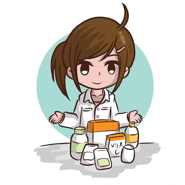 Śliczna farmaceuty kreskówka., akcydensowy pojęcie. Premium Wektorów