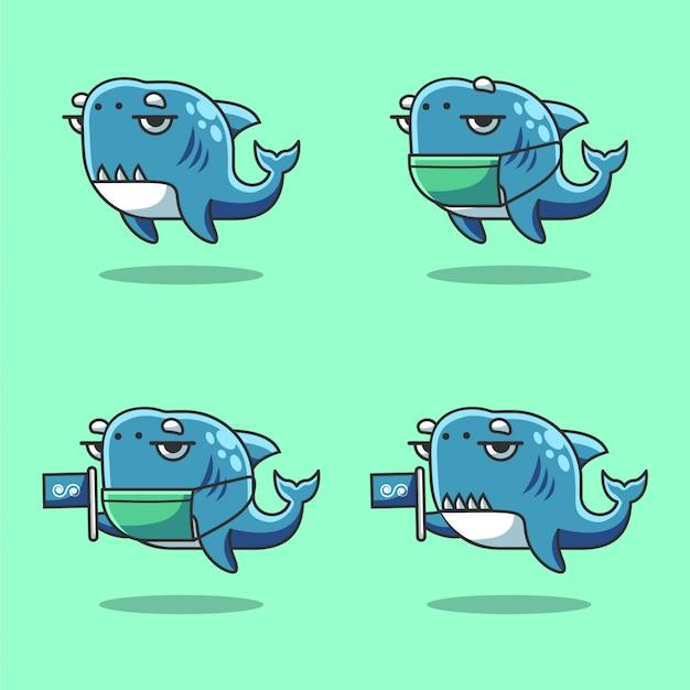 Śliczna I Leniwa Kreskówka Rekin W Morzu świętuje światowy Dzień Oceanu Premium Wektorów