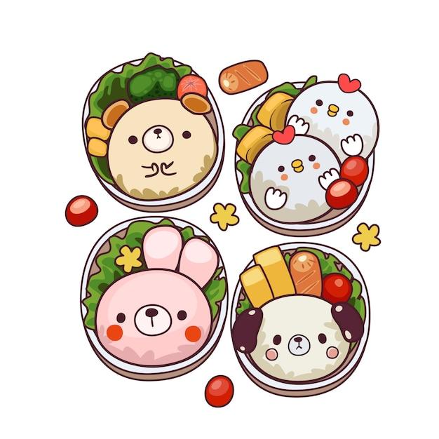 Śliczna Ilustracja Bento Premium Wektorów