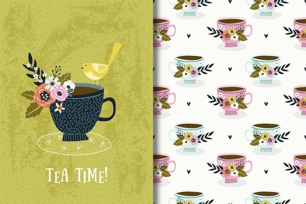 Śliczna ilustracja z ptakiem i bukietem kwiaty w filiżance. karta tea party i wzór Premium Wektorów