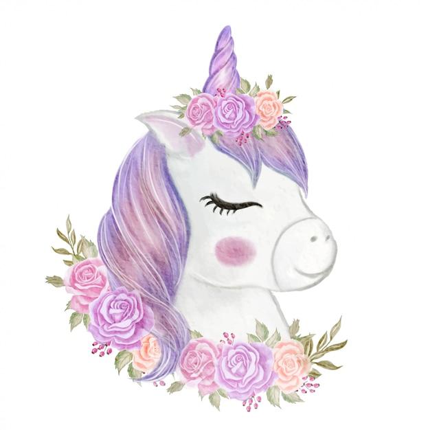 Śliczna Jednorożec Dziewczyna Z Korony Różaną Ilustracyjną Akwarelą Premium Wektorów