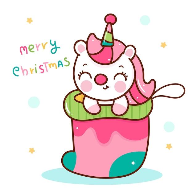 Śliczna Jednorożec Kreskówka W świątecznej Skarpecie Kawaii Zwierzę Premium Wektorów