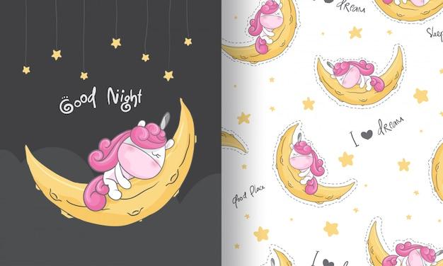 Śliczna jednorożec marzy bezszwową deseniową ilustrację dla dzieciaków Premium Wektorów