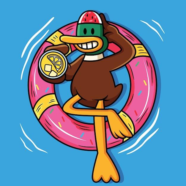 Śliczna Kaczka Pływanie Z Balonem I Trzymając Sok Ikona Ilustracja Kreskówka Premium Wektorów