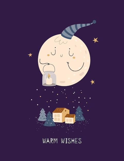 Śliczna kartka bożonarodzeniowa z kreskówki księżyc i domem w czarodziejskim lesie Premium Wektorów