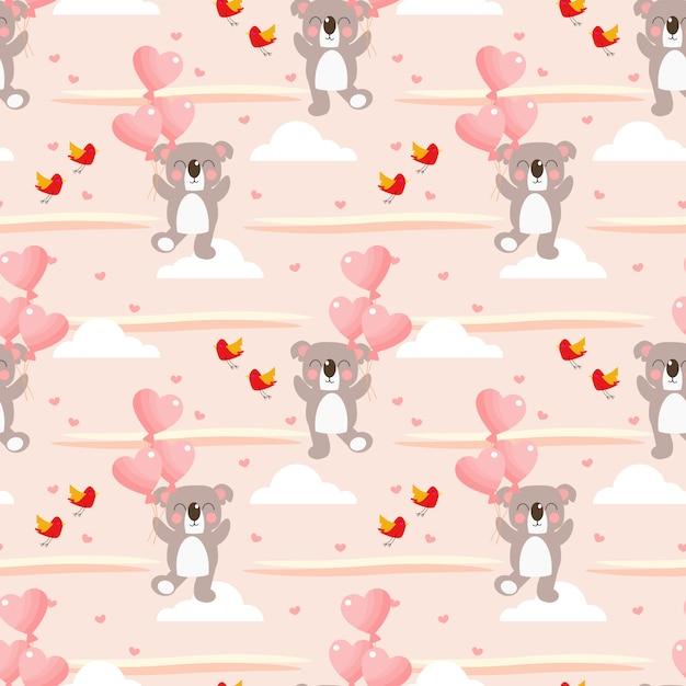 Śliczna Koala I Serce Kształtujący Balonowy Bezszwowy Wzór. Premium Wektorów