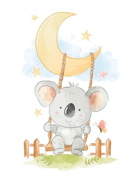 Śliczna koala jest usytuowanym na huśtawkowej ilustraci Premium Wektorów