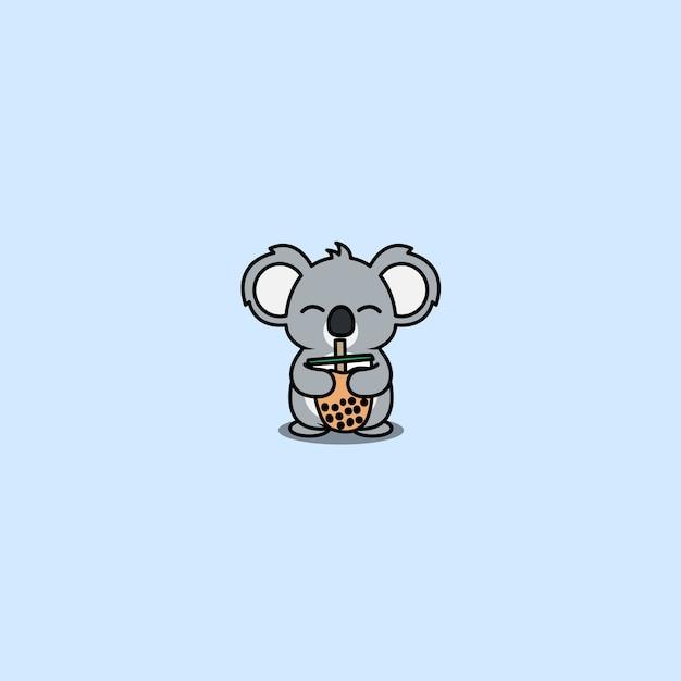 Śliczna Koala Uwielbia Bąbelkową Herbatę, Ilustrację Premium Wektorów