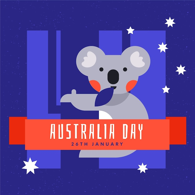 Śliczna Koala Z Liściem W Usta Australia Dniu Darmowych Wektorów