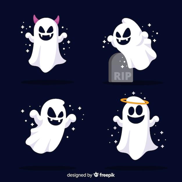 Śliczna kolekcja duchów halloween o płaskiej konstrukcji Darmowych Wektorów