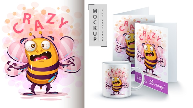 Śliczna Komarnicy Pszczoły Ilustracja I Merchandising Premium Wektorów